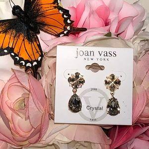 Joan Vass Crystal Flower Teardrop Earrings